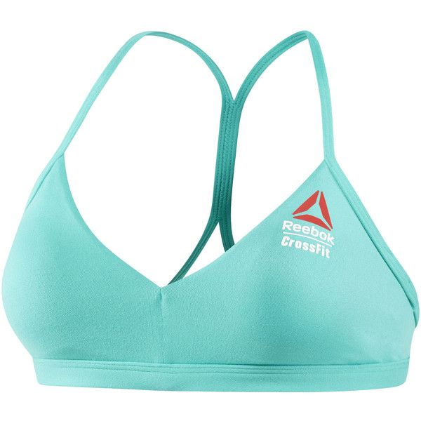 Reebok CrossFit Games Micro Bra ($50) ❤ liked on Polyvore featuring activewear, sports bras, apparel, neon pacific, reebok, reebok sports bra, strappy sports bra, white sports bra and reebok activewear
