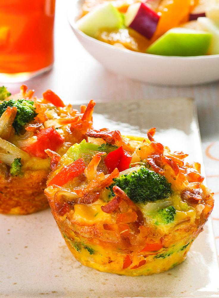 Veggie Frittata Cups – Here's a brunchtime frittata recipe you'll like a lotta—made mini-style in a muffin tin with eggs, ORE-IDA hash browns, veggies, and ooey gooey cheese!