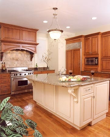 Wood Cabinets With Cream Island Kitchen Pinterest