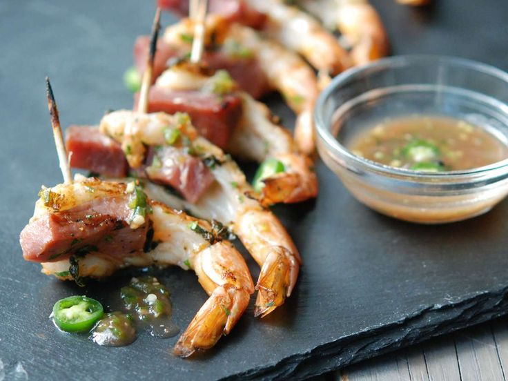 Skewered Shrimp with Ham and Apple Jelly