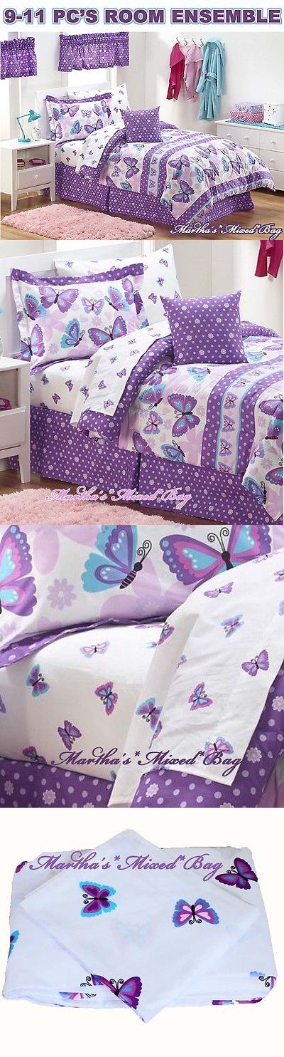 Bedding Sets 66731: Butterfly Frolic Purple Lavender Girls 9-11Pc Comforter Set Twin-Or-Full-Size -> BUY IT NOW ONLY: $89.99 on eBay!