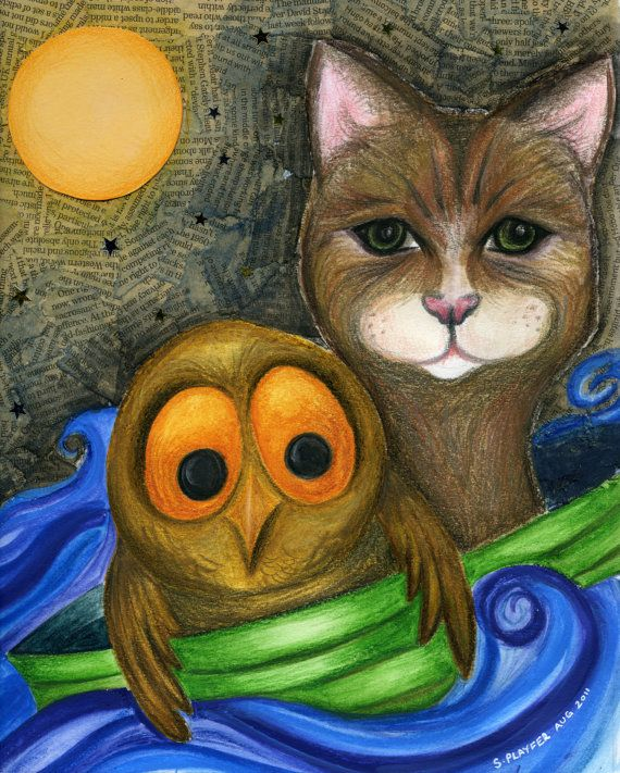 The Owl and the Pussy Cat Print from Original by Artbysarahplayfer, £15.00