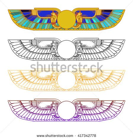 Hand-drawn vintage tattoo art. Egypt Sun Disk, Wings, Ra, Cobra, Horus.  Vector illustration, tribal symbol of pharaoh, element of ancient Egypt design in linear style. - stock vector