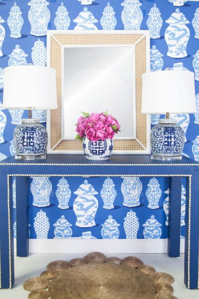 Blue and white china themed wallpaper: http://www.stylemepretty.com/living/2015/07/08/three-ways-to-incorporate-wallpaper/   Decor: http://www.shopsocietysocial.com/