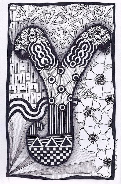 Zentangle, Letter Y, Zebra Letters, name, bunting