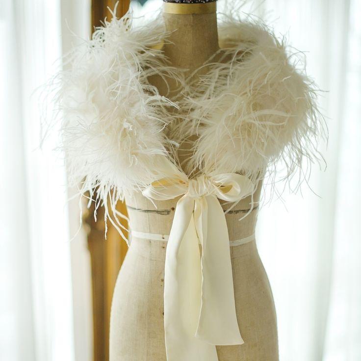 Genuine Ostrich Feather Bridal Wedding Shrug Shawl Bolero