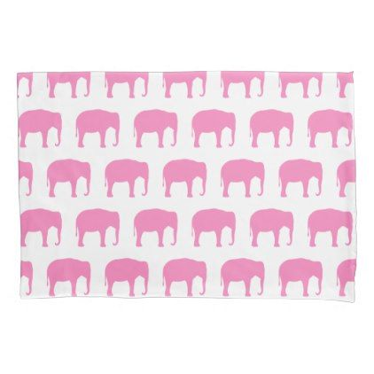 #Pink Elephant Silhouettes Pattern Pillow Case - #cute #pink #sweet #custom