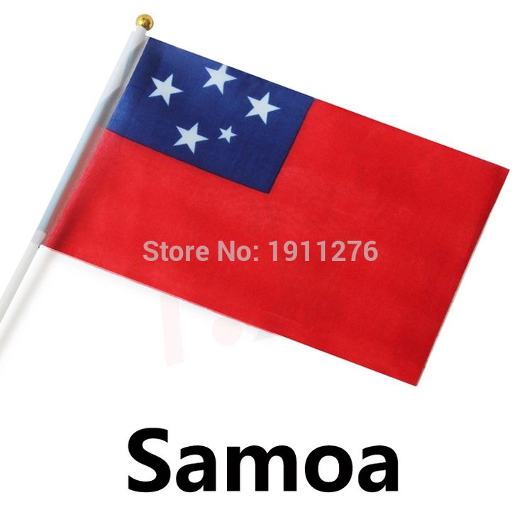 Бесплатная доставка : самоа 14 x 21 см полиэстер разводят руками национальные флаг самоа с пластиковой флагштоки дома Decor.10 pcs/lot