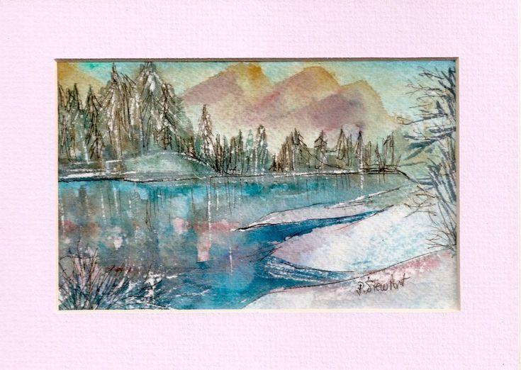 Landscape Watercolor 4x6 Painting Postcard size art + pink mat Penny StewArt #Realism