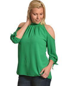 7d54a25915eaf2 CES FEMME Womens Green Cold Shoulder Ruffle Top