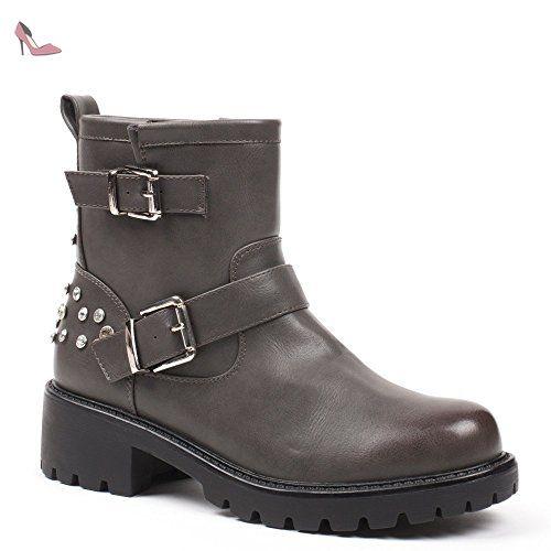 Ideal Shoes - Bottines style motard avec ceinturon et strass Prue Gris 39 - Chaussures ideal shoes (*Partner-Link)