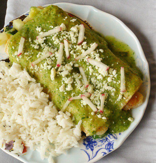 Green Chile Enchiladas Stuffed with Shrimp & Veggies - plus 49 more fabulous Hatch Chile Recipes!