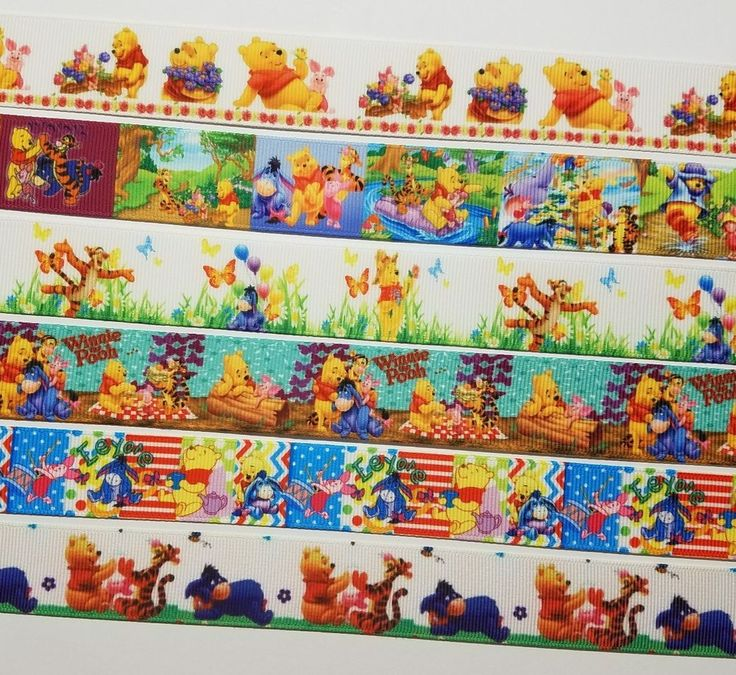 6 Yds Mixed Lot Winnie-the-Pooh  Inspired grosgrain Ribbon 1 Yard Each #Unbranded