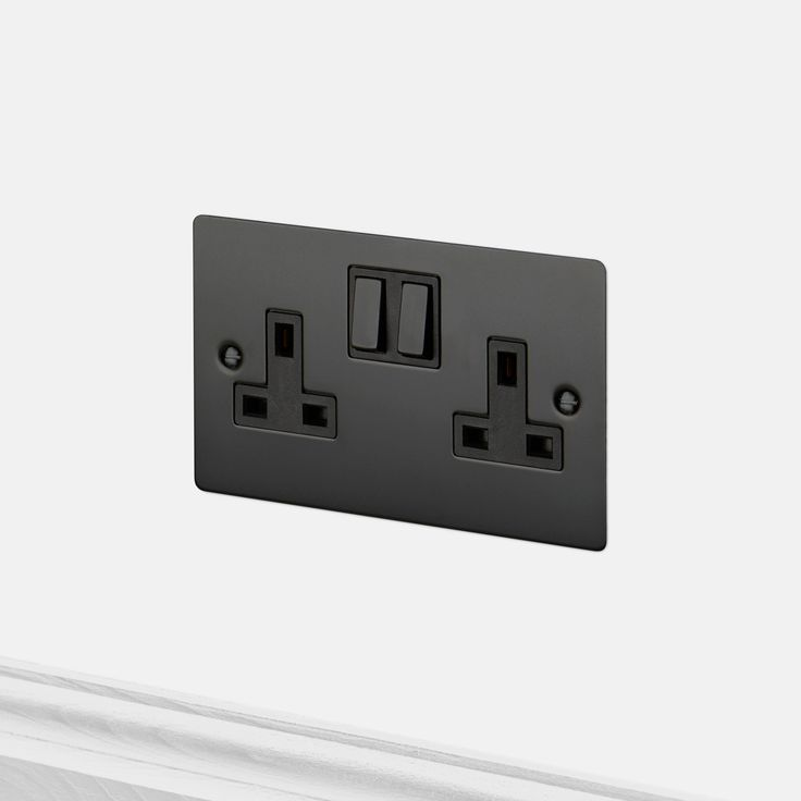 a double uk plug socket made from solid metal and finished to match our toggle switches dimmers and euro plates