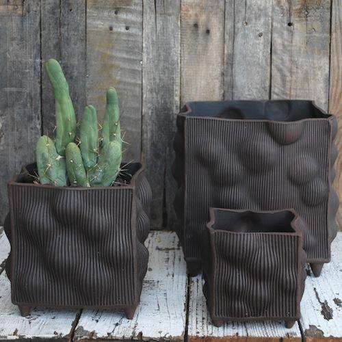 Estes handmade Pottery Square LG 9sq x 9.50h, MD 6sq x 7h, SM 4sq x 5h