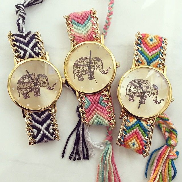"""Elephant friendship bracelet watch www.hellomissapple.com"""