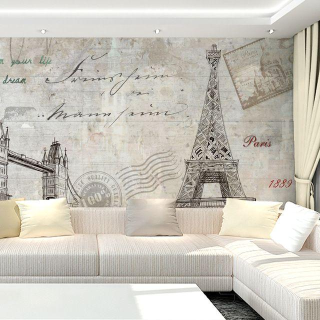 Free Shipping TV Background Wall Mural Wallpaper Non Woven 3D European Bedroom  Wallpaper Eiffel Tower