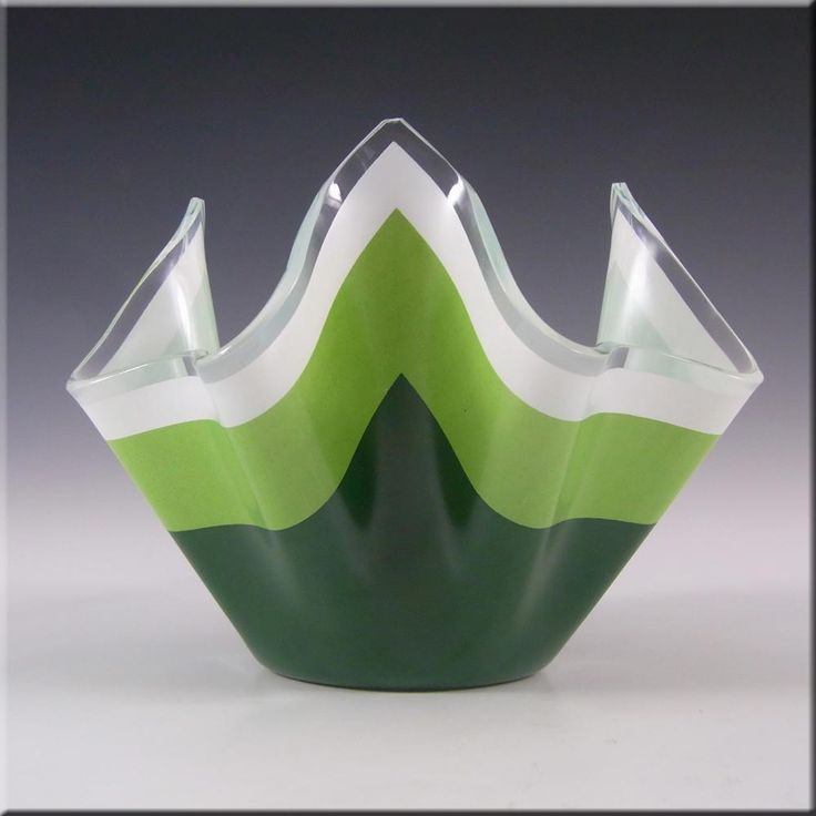 Chance Brothers Green Glass 'Duet' Handkerchief Vase #2 - £30.00