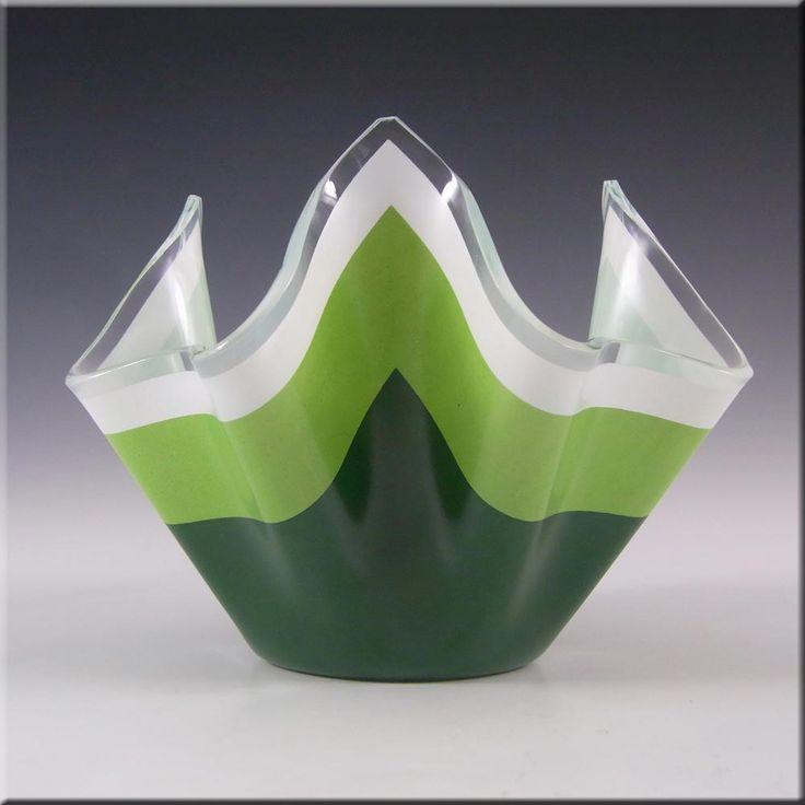 Chance Brothers Green Glass 'Duet' Handkerchief Vase #2 - £30.00