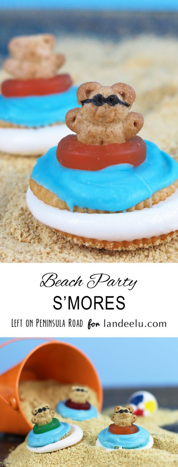 Teddy Grahams Beach Party S'mores. Easy summer food craft!