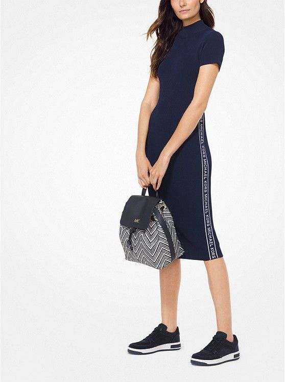 3bbc6bf05f6 MICHAEL KORS Logo Tape Ribbed Knit Dress in Navy ~ Today s Fashion Item   MichaelKors