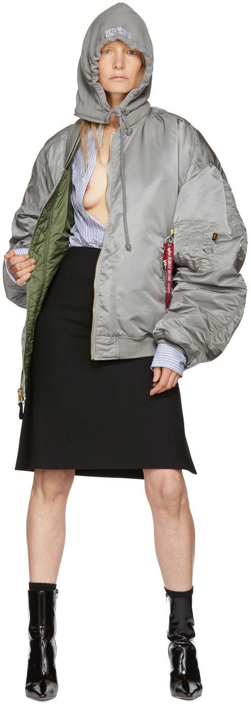 Vetements - Reversible Grey Alpha Industries Edition Hooded Bomber Jacket