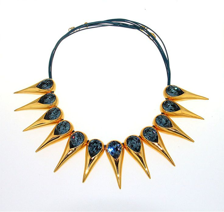 """#SPIKE ME"" #NECKLACE - WITH #SWAROVSKI #BLUE DENIM"