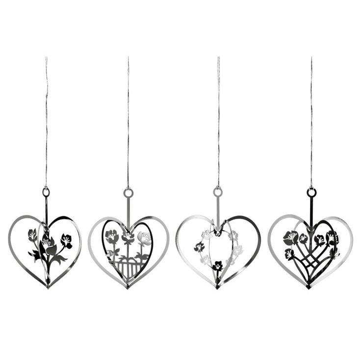 Silver hearts with flowers in 4 designs, pack of four