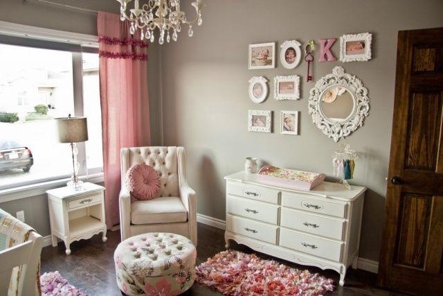Maison Moderne A Vendre Canada : Chambre Gris Et Rose Poudre  Chambre bébé fille en gris et rose