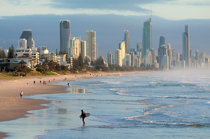 Surfer Paradise - Early morning on Australian beach.