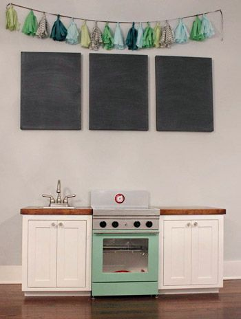 Wow, this is a mini play kitchen someone made for their daughter.  Looks nicer than my kitchen! They just used scrap lumber.  There are even dimmable burners using coiled LED lighting!  A complete source list is included.