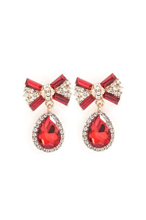 Sparkling Bow Earrings in Ruby.