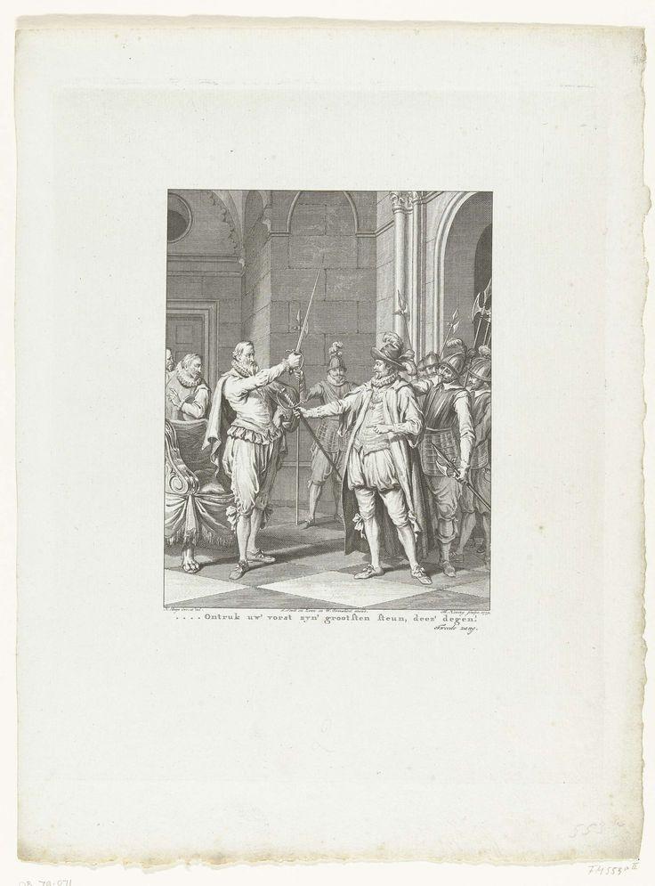 Theodoor Koning | Egmond geeft zijn degen aan Alva, 1567, Theodoor Koning, Willem Vermandel, J. Smit, 1779 | Bij zijn arrestatie overhandigt de graaf van Egmond zijn zwaard aan Alva, 10 september 1567. Tweede zang.