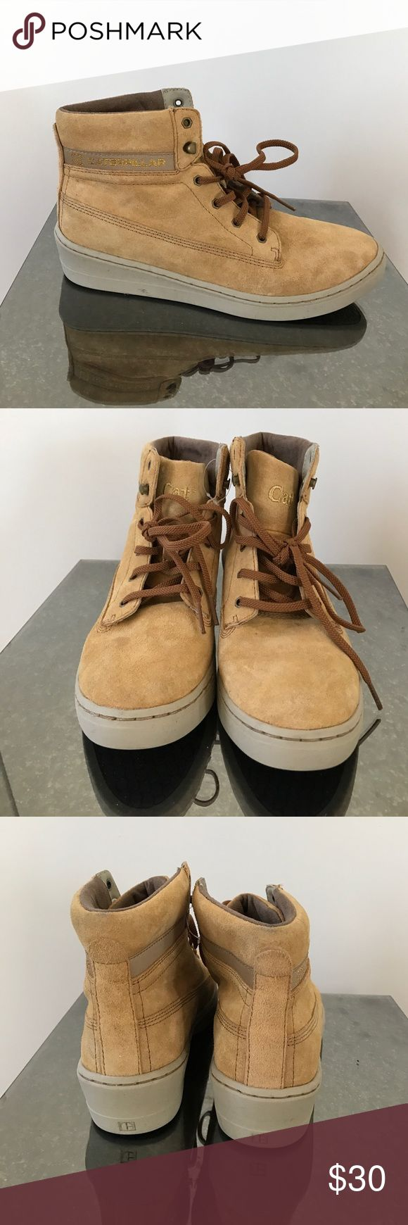Cat footwear wedge work boots tan suede 6 Awesome unique wedge work boots with tan suede. From Cat footwear so they are extremely comfortable! These have never been worn but got a little scuffed in storage. Caterpillar Shoes Ankle Boots & Booties