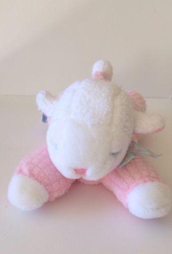 Eden Floppy Lamb Pink Plush Sheep Lying Down Sleeping