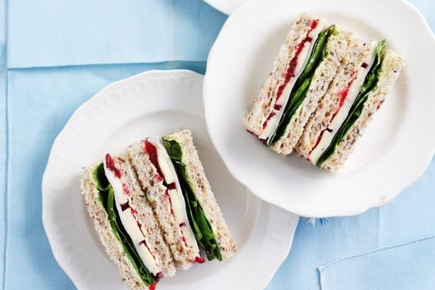 Turkey, Brie And Cranberry Sandwiches Recipe - But serve on cinnamon bread instead