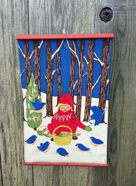 Vintage Scandinavian wall hanging  child feeding by MelbaMoon