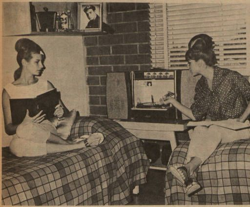 """The caption of this photograph from the student newspaper at San Fernando Valley State College (now CSUN), the Daily Sundial, reads: """"STEREO AND STUDIES - Drama majors Linda DeWoskin and Bonnie Shulem relax in typical Monterey Hall room. The stereo rates supreme, but they say studies do play a part in dorm life."""" Daily Sundial, Sep. 27, 1963.: Students Newspaper"""