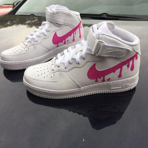 Custom Nike Pink Air Force 1 Drip Women Men by CustomJordans