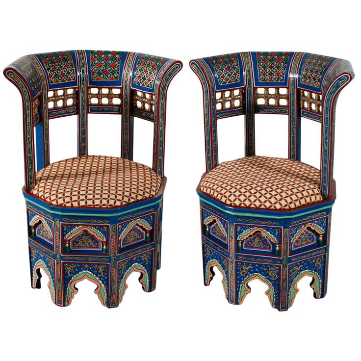 Nice Pair Of Moroccan Painted And Gilded Chairs