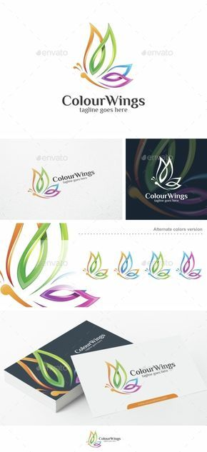 Colour Wings / Butterfly - Logo Template Vector EPS, AI. Download here: http://graphicriver.net/item/colour-wings-butterfly-logo-template/15305845?ref=ksioks