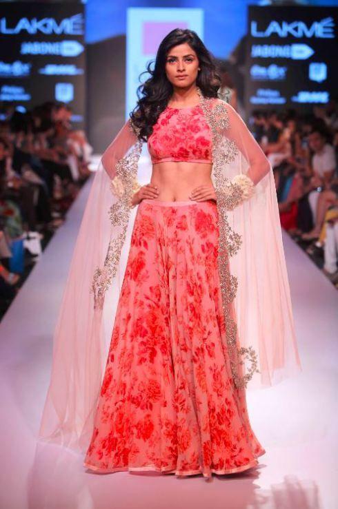 Anushree-reddy-lfw-red-floral-pink-lehenga-designer-fashion-indian-wedding-dress-party