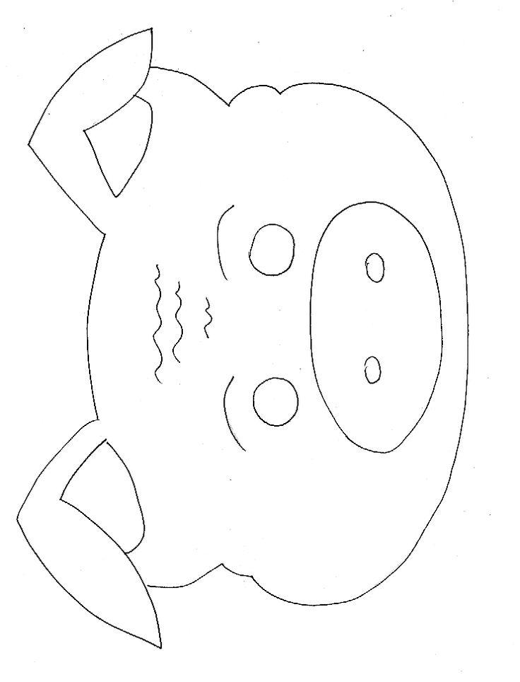 masque de cochon à colorier