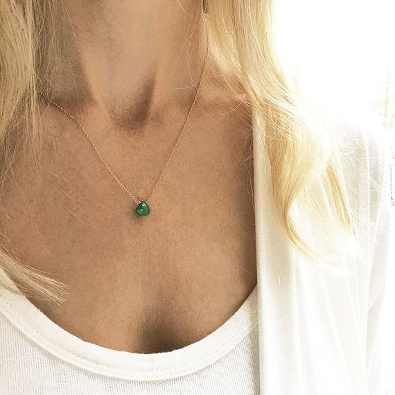Emerald Necklace May Birthstone Gold Emerald by lolabeanjewelry