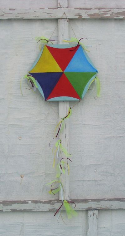HANDPAINTED WOODEN KITE... DIFFERENT COLOURS...