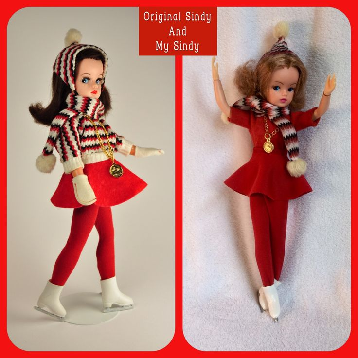 Original Sindy skate outfit and  my reproductions of parts I did not have.