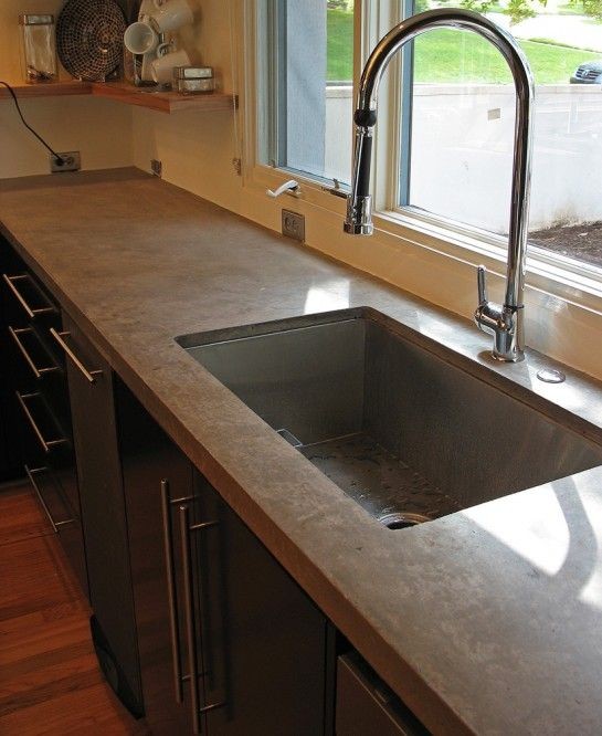 1000 ideas about concrete countertops cost on pinterest for Stainless steel countertop with built in sink