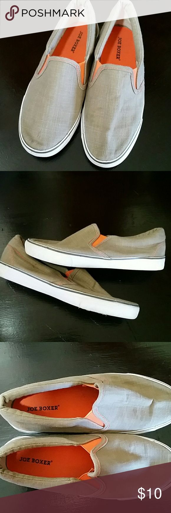 Joe boxer slip-on shoes Orange and tan, comfortable, stylish loafers. Boys 6, ladies 8. Worn only a few times. Too tight for my son now. Comes from smoke free home. JOE BOXER Shoes Flats & Loafers