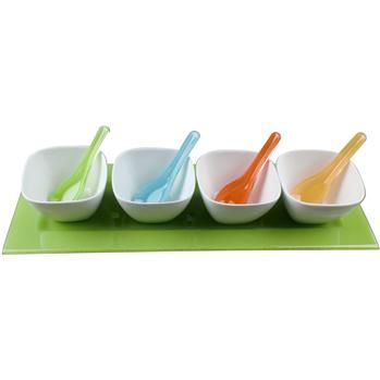 Ksp Key Largo Glass Serving Set W/Tray Set/9 44 X 15 X 7 Cm Multi Colour   Kitchen Stuff Plus