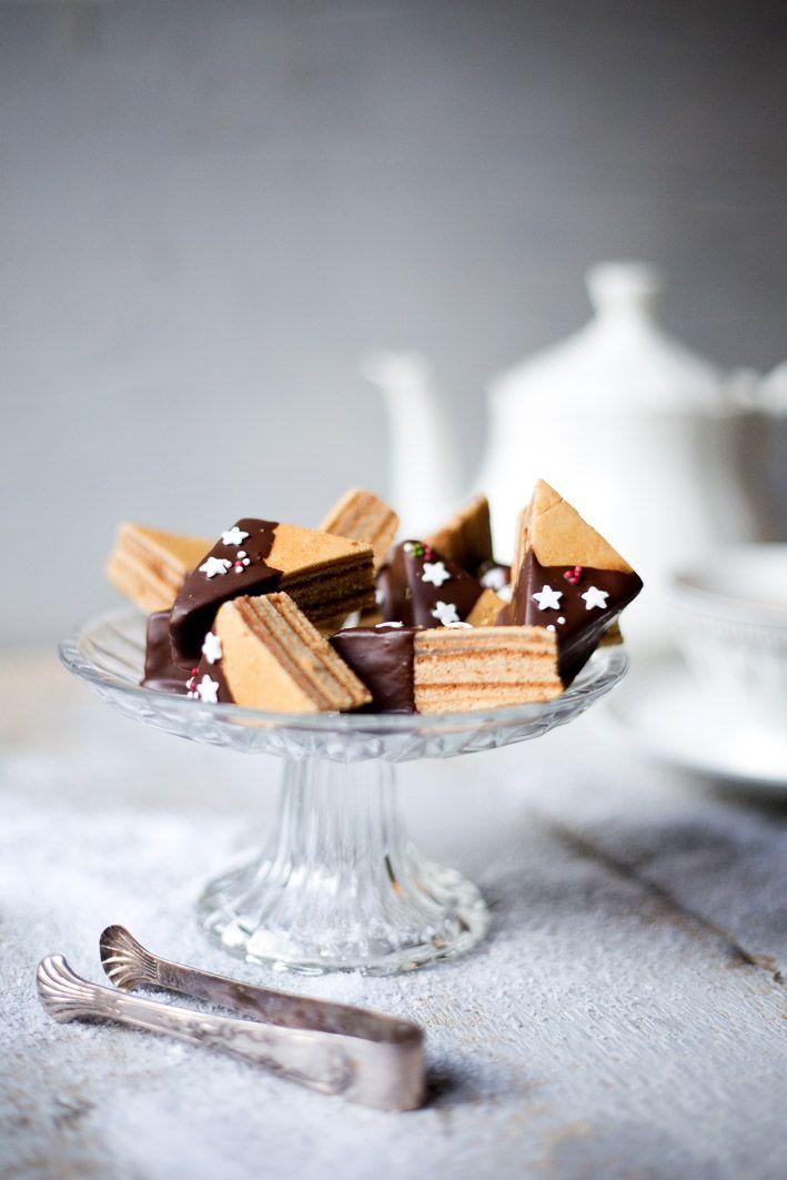 Rezept für Baumkuchen-Ecken mit Schokolade.